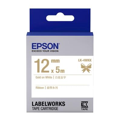 EPSON C53S654440 LK-4WKK緞帶系列白底金字標籤帶(寬度12mm)