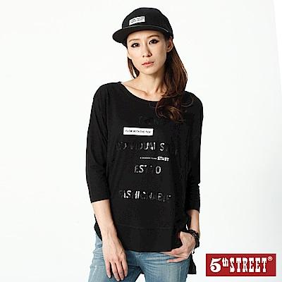 5th STREET 異素材拼接七分袖T恤-女-黑色