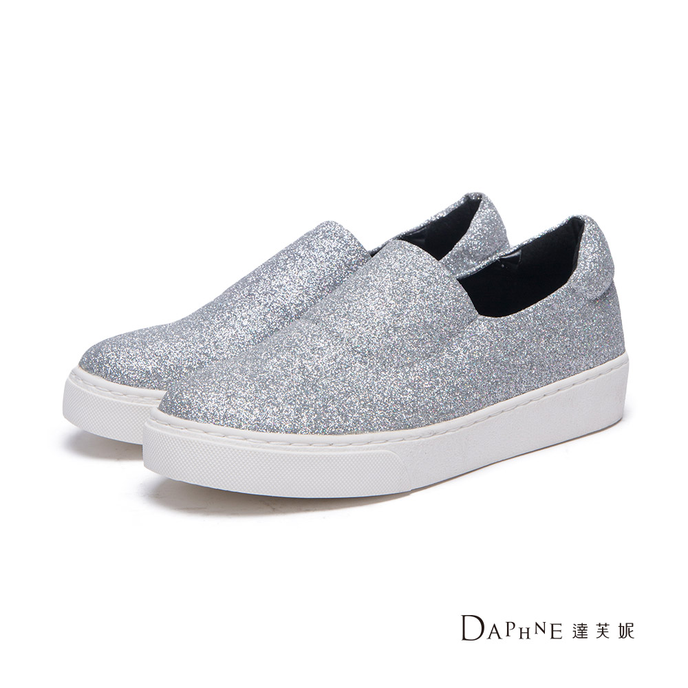 達芙妮DAPHNE懶人鞋-素面金蔥平底休閒鞋-銀
