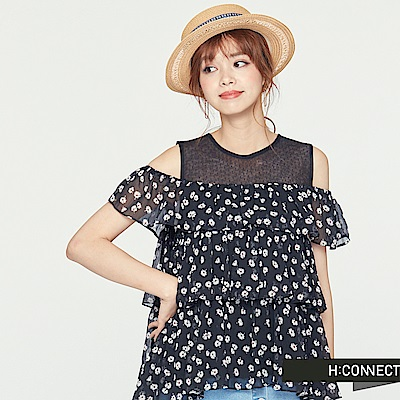 H:CONNECT 韓國品牌 女裝-假兩件式滿版印花雪紡上衣-黑 - 動態show