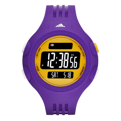 adidas 勁戰狙擊大面板電子腕錶-黃x紫/53mm