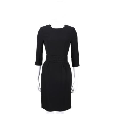 ELISABETTA FRANCHI 黑色圓領七分袖洋裝(附腰帶)