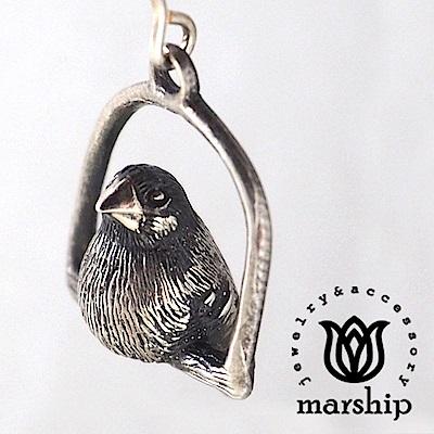Marship 日本銀飾品牌 鞦韆上的文鳥耳環 925純銀 古董銀款 夾式耳環