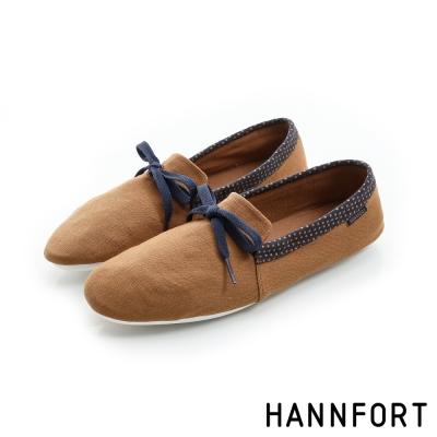 HANNFORT FLEX360簡約學院風平底鞋-女-卡其咖