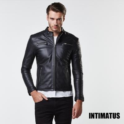 秋冬新款 真皮皮衣 時尚輪胎紋小羊皮皮衣 帥氣黑色-INTIMATUS
