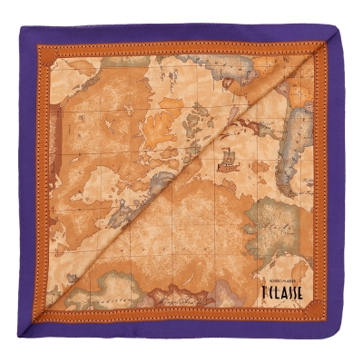 Alviero Martini 義大利地圖 經典地圖航海絲巾 紫/地圖黃