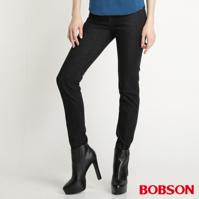 BOBSON 女款星星刺繡保暖紗小直筒褲(黑灰87)