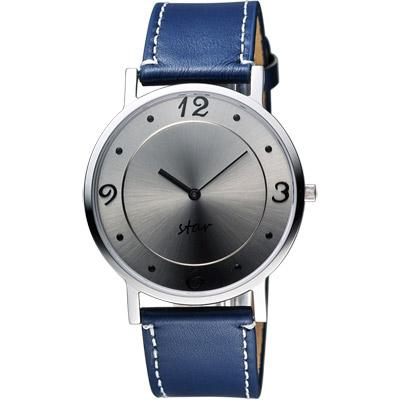 STAR 藝術時尚簡約風情女錶-銀灰x藍色錶帶/34mm