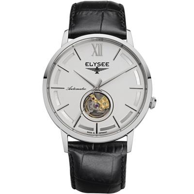 ELYSEE Picus 小鏤空經典機械錶-白/41mm