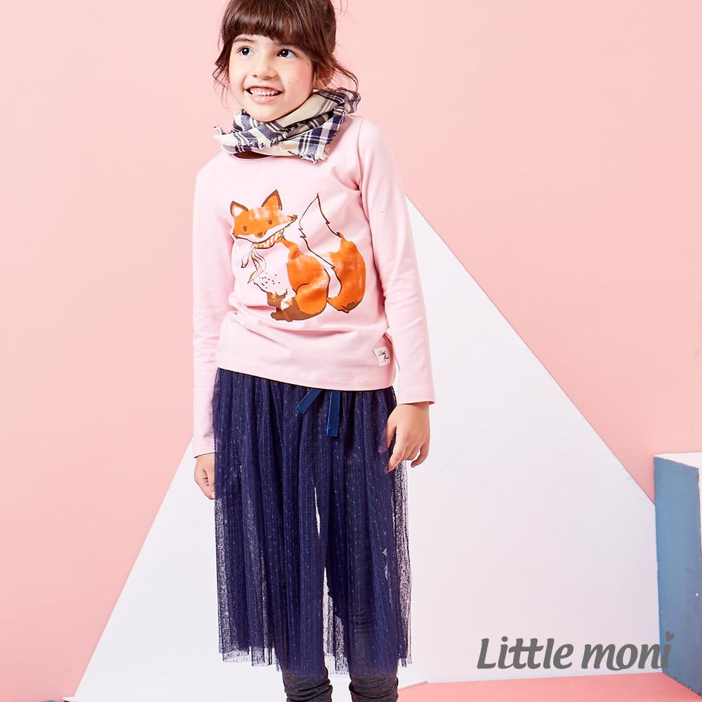 Little moni 時尚甜心假兩件式網紗蓬裙 深藍