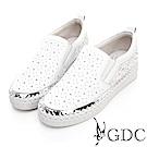GDC-真皮春夏浪漫蕾絲滿天星鑲鑽透氣休閒鞋-白色