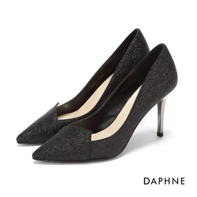 達芙妮DAPHNE 高跟鞋-金蔥亮片拼接尖頭高跟鞋-黑