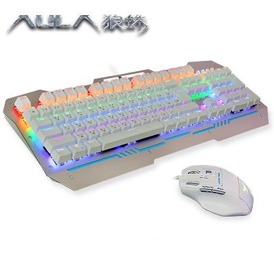 AULA狼蛛-無盡斬-電競鍵盤滑鼠套裝-青軸混光