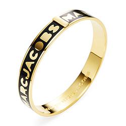 MARC BY MARC JACOBS黑色底金字硬材質圓形手環