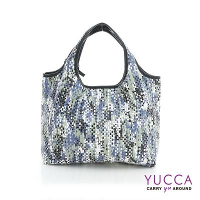 YUCCA - 國際潮流配色手工編織包-藍色-D0118024C85
