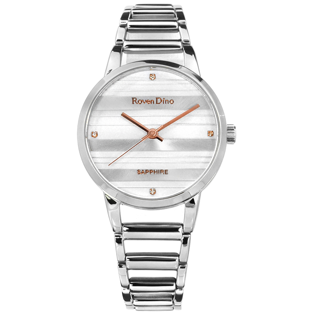 Roven Dino時尚晶鑽橫紋藍寶石水晶鏤空手錶-銀白色30mm