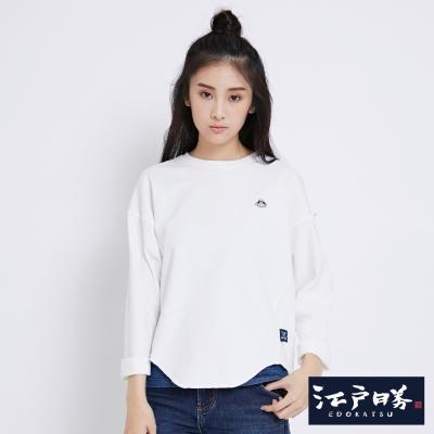 EDWIN EDOKATSU江戶勝後染徽章長袖T恤-女-米白