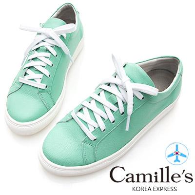 Camille's 韓國空運-正韓製-牛皮經典綁帶休閒鞋-果綠