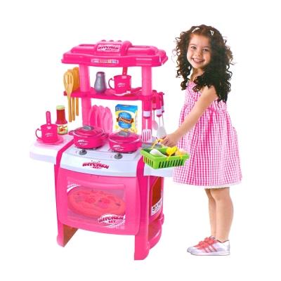 家家酒系列玩具-聲光廚具台-附購物籃-粉紅色-3Y