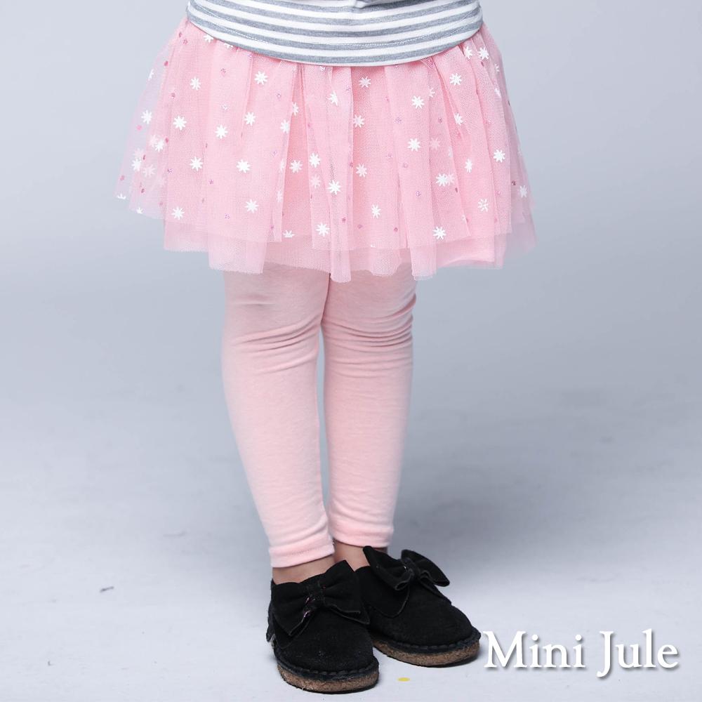 Mini Jule童裝-內搭褲裙閃亮點點八角星網紗內搭褲裙粉