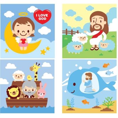 LOVIN 超萌韓版數字油畫 聖經系列(2-3-5-6) 4幅 20X20