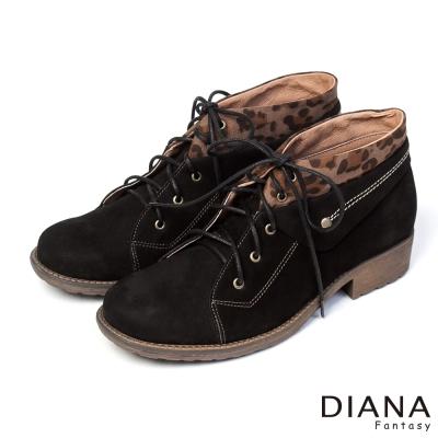 DIANA-粗曠男孩風-中性酷炫豹紋反摺真皮短靴-黑