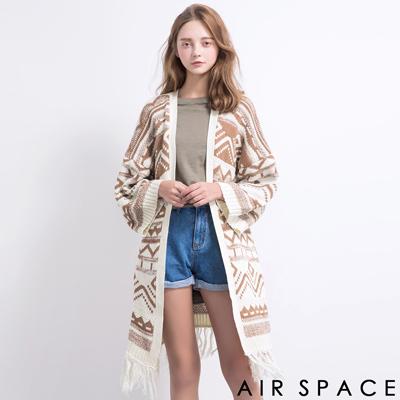 AIR-SPACE-BOHO圖騰寬袖流蘇針織罩衫