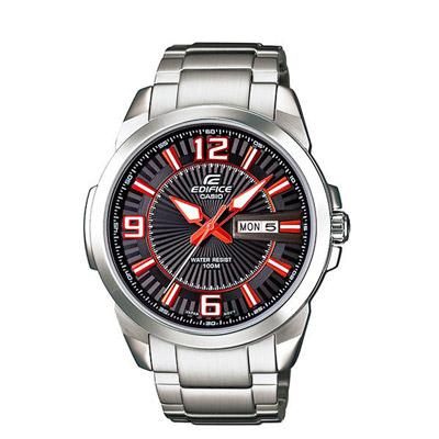 CASIO EDIFICE系列 簡約休閒紳士時尚腕錶-紅-43mm