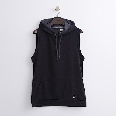 Hang Ten - 男裝 - Thermo Contro無袖連帽T恤-黑色