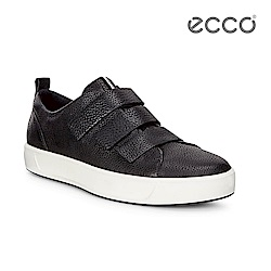 ECCO SOFT 8 MEN'S 簡約魔鬼氈休閒鞋-黑