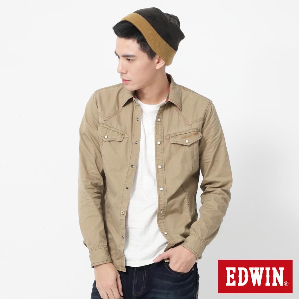 EDWIN 直線繡字長袖襯衫-男-灰卡其