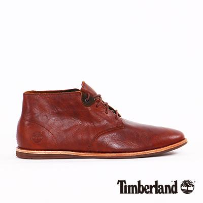 Timberland-男款咖啡色素面綁帶低筒休閒鞋