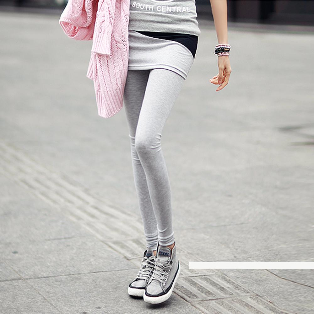 雙色塊短裙拼接內搭褲 (共二色)-N.C21