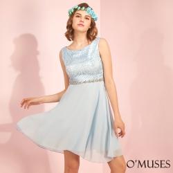蕾絲拼接雪紡伴娘婚紗短禮服-OMUSES