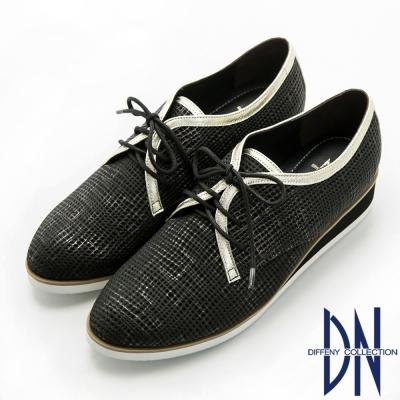 DN 個性英倫 羊皮擦色壓紋綁帶厚底休閒鞋-黑