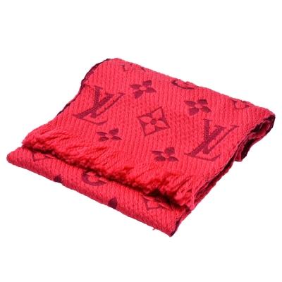 LV M78769 Monogram LOGO MANIA 羊毛針織圍巾(桃紅)