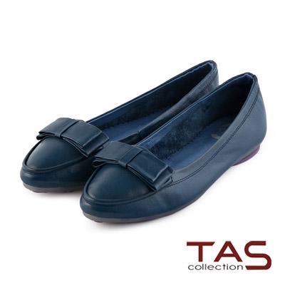 TAS-太妃Q系列-層次蝴蝶結牛皮娃娃鞋-深藍