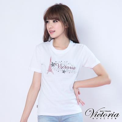 Victoria 巴黎星空印花TEE-女-白