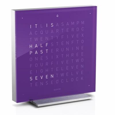 QLOCKTWO Touch 觸碰式鬧鈴精巧文字桌鐘-紫/13.5cm