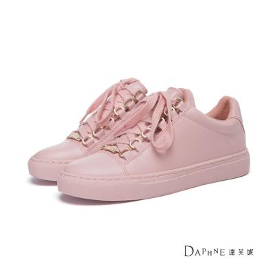 達芙妮DAPHNE-休閒鞋-馬卡龍純色綁帶平底休閒鞋-粉紅