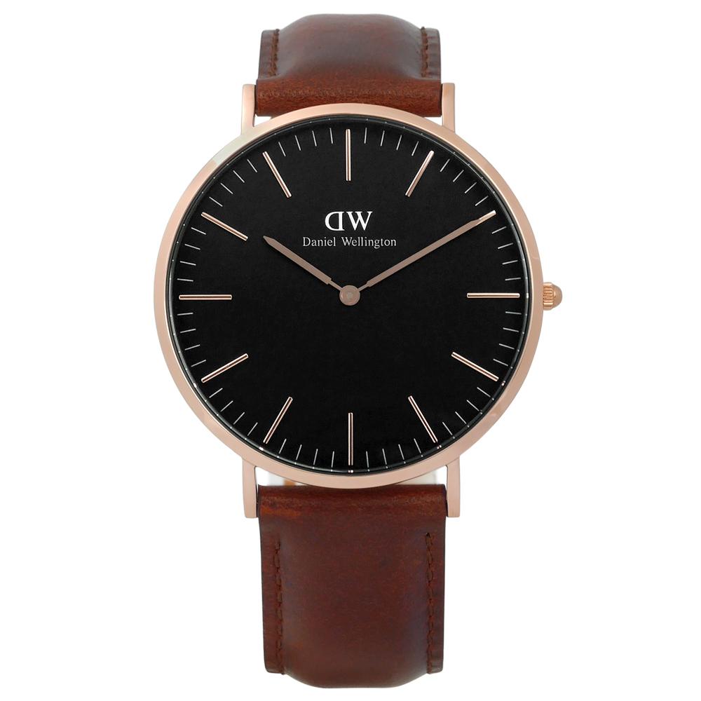 DW Daniel Wellington 經典旗艦真皮手錶-黑x玫瑰金框x咖啡/40mm