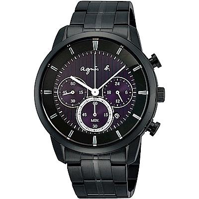 agnes b. 太陽能 魔力三眼計時腕錶(BU8008P1)-黑x紫/40mm