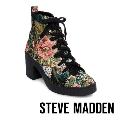 STEVE MADDEN-ABBY-FLORALT-厚底粗跟綁帶短靴-花漾綠