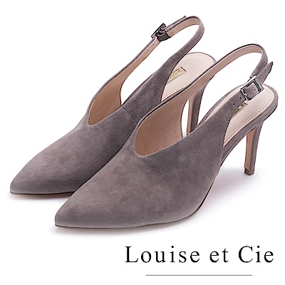 Louise et Cie 真皮素面V口尖頭高跟鞋-絨灰