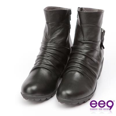 ee9 MIT經典手工~率性風格自然抓皺晶鑽飾扣粗跟百搭短筒靴-黑色