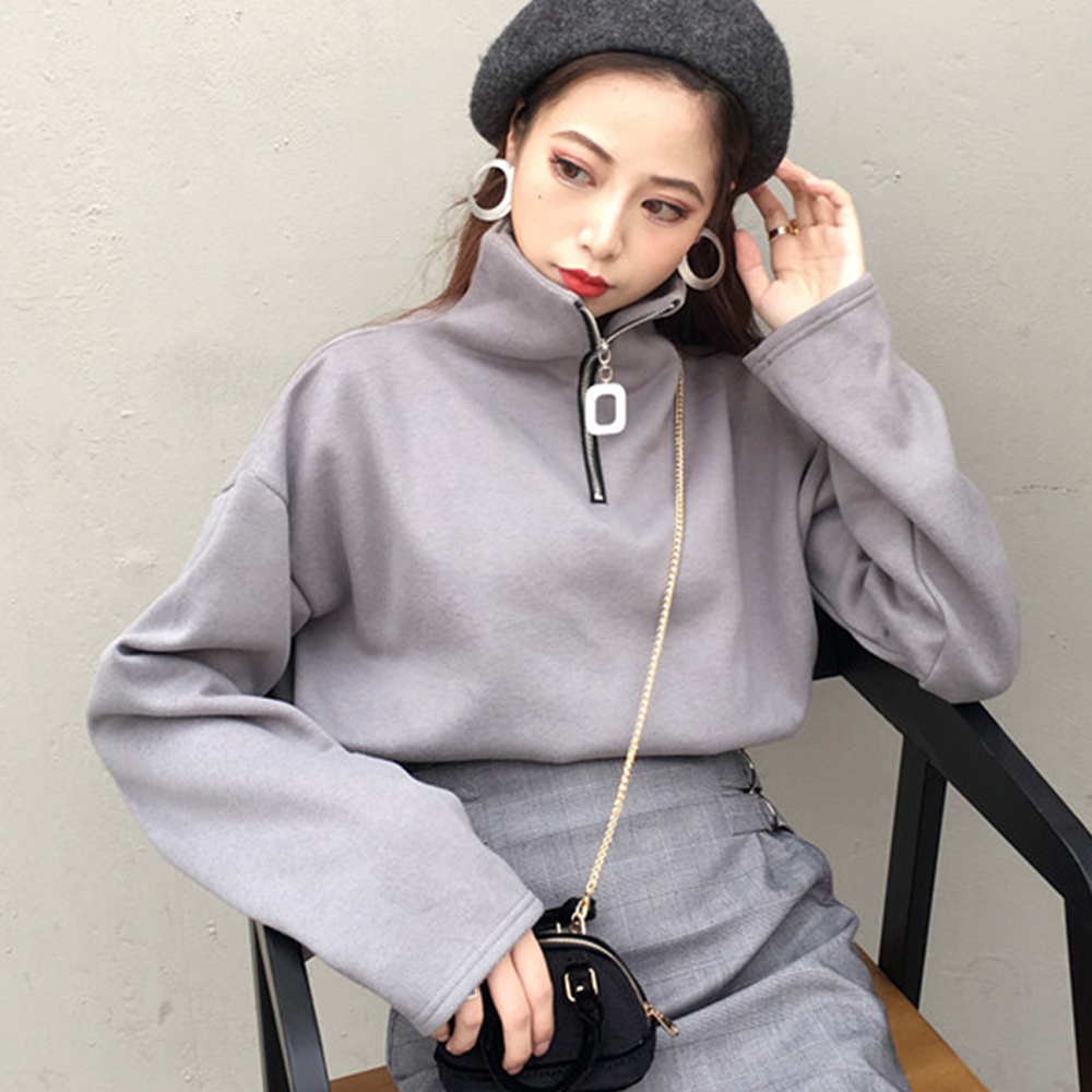 立領金屬拉鍊長袖衛衣共二色-Kugi Girl