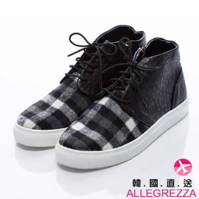 ALLEGREZZA-韓國直送-正韓國製造異材質拼接格紋綁帶拉鏈短靴  黑色X黑格紋