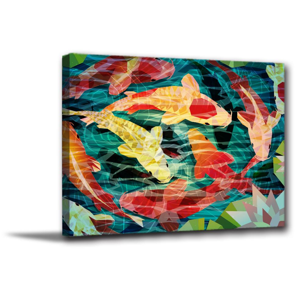 24mama掛畫-單聯無框圖畫藝術家飾品掛畫油畫-鯉游聚財-30x40cm