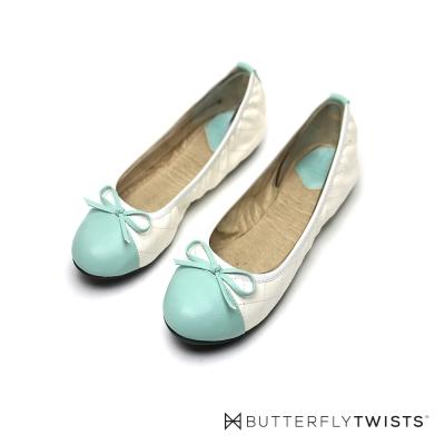 BUTTERFLY TWISTS-格紋款撞色系記憶軟墊平底鞋--奶油白