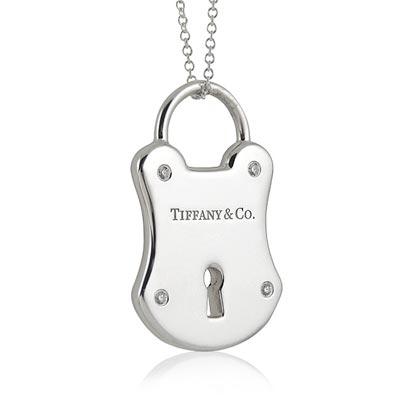 TIFFANY&Co.鎖頭造型鑲鑽純銀項鍊